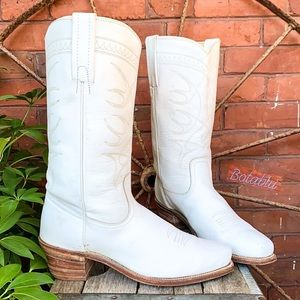 FRYE Rare Vintage USA White Western Boots 10